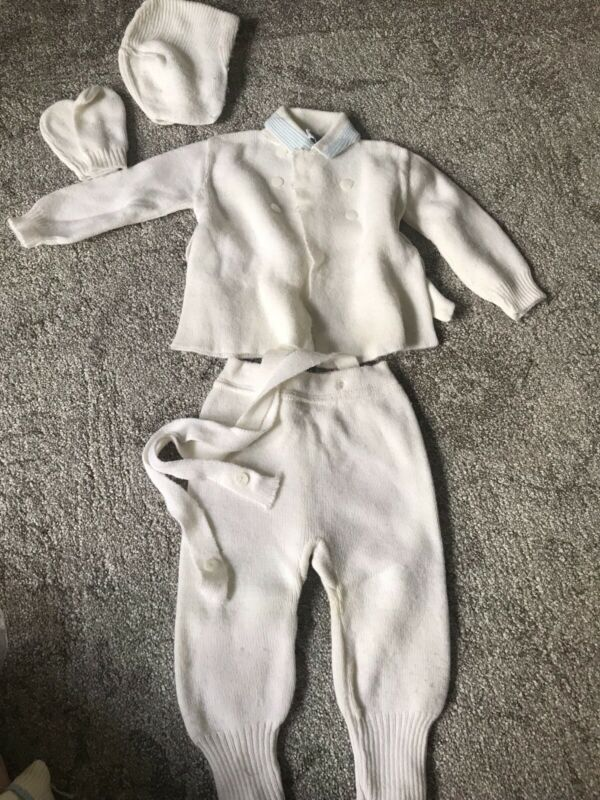 Vintage 2T Sweater Suit 1950s With Hat And Gloves