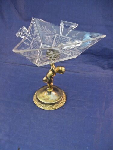 ANTIQUE ETCHED CANDY DISH ON CHERUB PEDESTAL STAND  - EXQUISITE!