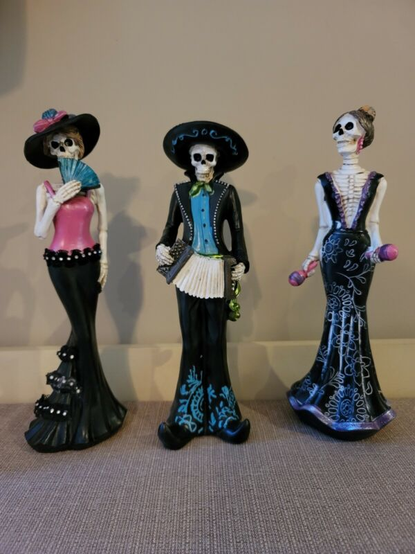 Day of the Dead 12 inch Resin Mariachi Band Figurines (Set Of 3)