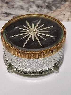 Vintage Art Deco Glass With Starburst Mirror Metal Top Vanity Powder Jar Trinket