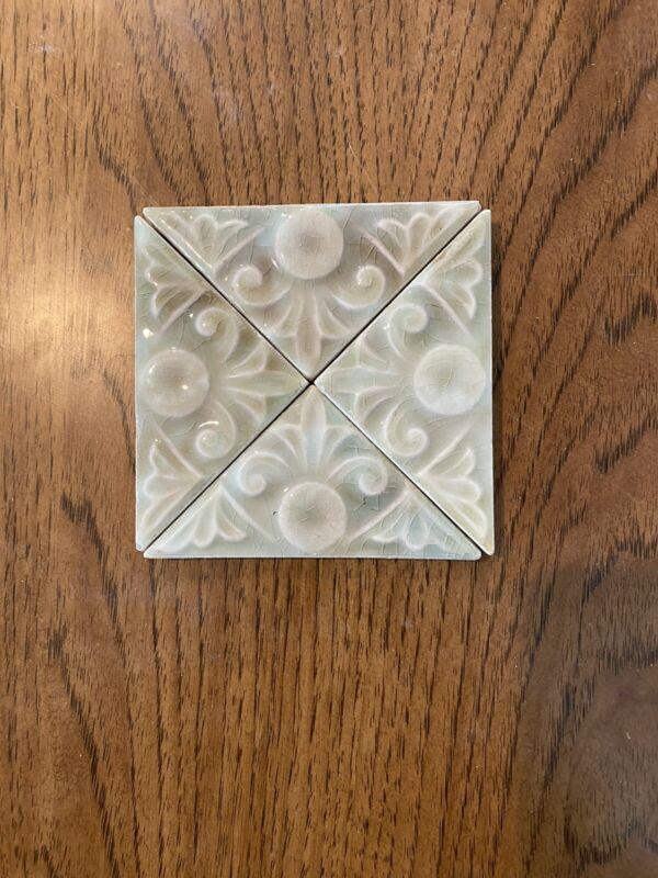 """Lot #3 Trent Triangle Antique Gothic Art Tiles Ceramic 1890 Victorian Deco 4""""x3"""""""