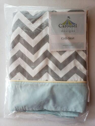 Carousel Designs Crib Skirt NEW Gray Blue Yellow