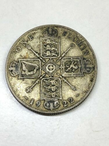 1922 United Kingdom 1 Florin .500 silver George V coin, Great Britain, England