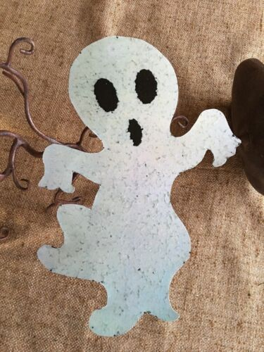 Vintage Repro Popcorn Mod Ghost Black Eyes Halloween Cardstock Decoration, 10""