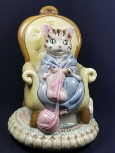 "VTG/RTD Otagiri Knitting Grandma Tabby Cat Musical ""Make Someone Happy,"" MINT"