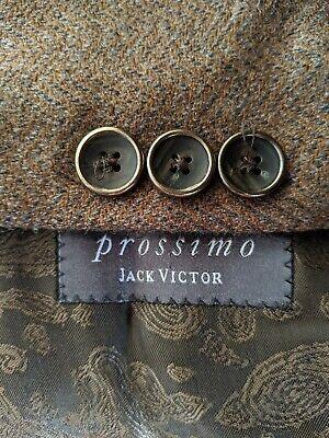 54L Jack Victor Brown Blue Zigzag Check CASHMERE WOOL Tweed Coat Blazer Jacket