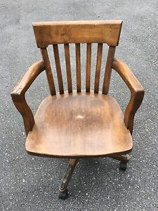 Office chair - antique wooden swivel.