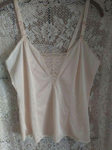 NOS Vintage 100% Antron III Nylon Lace Detail Camisole In BLUSH sz Medium 36