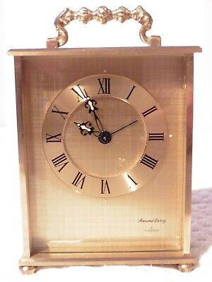 ARMAND LEROY 8 Day 7 Jewels Small Mechanical BRASS CARRIAGE CLOCK (Not working)