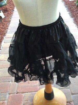 Womens Costume Petticoat Black Netting Gothic Short Small 23094
