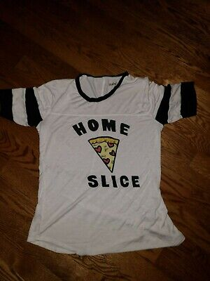 Womens Rebellious One Graphic Screen Top Size Small Home Slice -