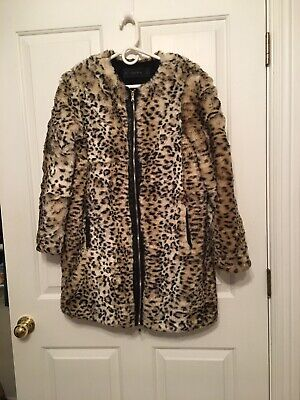 Zara Leopard Cheetah Faux Fur Leather Car Coat Jacket L Jackie O