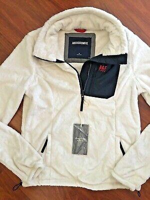 Abercrombie & Fitch A&F Women's Fleece Jacket White & Navy Size M $120