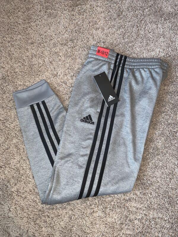 NWT Boys Adidas Gray Black Three Stripe Joggers Pants Size Medium 10 - 12