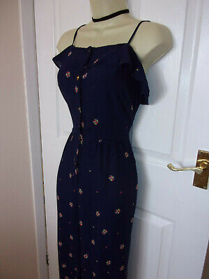 GORGEOUS HENRY HOLLAND BLUE FLORAL STRAPPY TROUSER JUMPSUIT s12