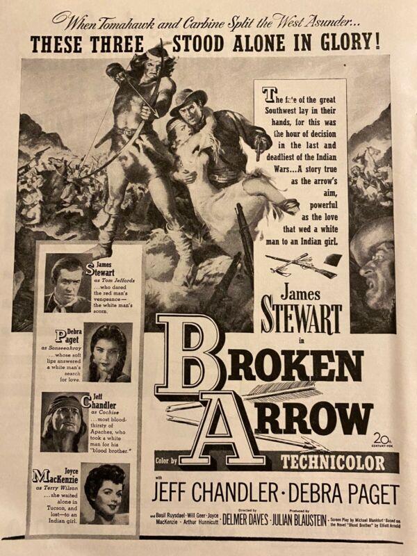 Broken Arrow, James Stewart, Debra Paget, Full Page Vintage Promotional Ad