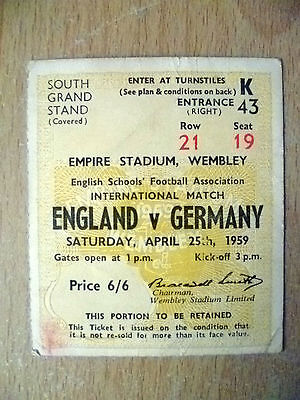 Tickets- 1959 International Match ENGLAND v GERMANY, 25 April