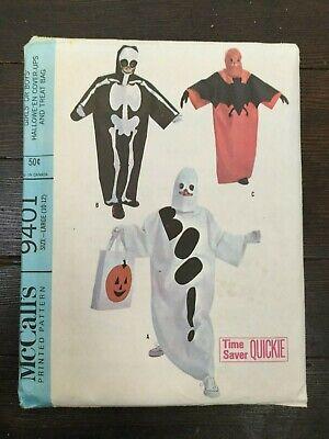 McCalls 9401 Vtg 60s Halloween Costume Easy Robe Hood Skeleton Ghost 10-12 Uncut
