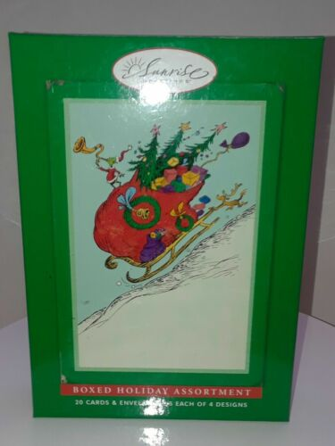 Grinch Dr Seuss Christmas Cards Box of 20 Sunrise Greetings 4 Designs 20 ct