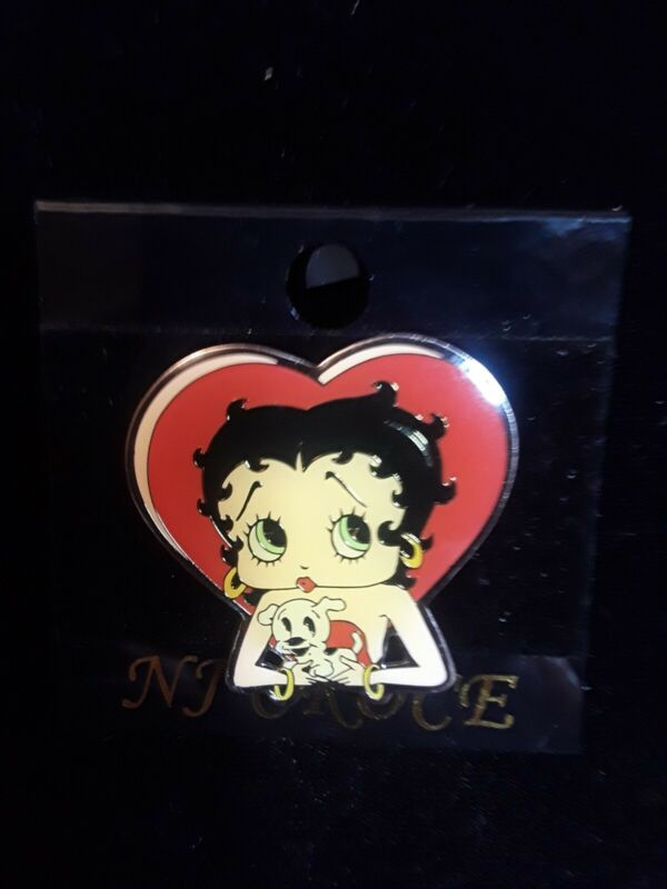 VINTAGE NJ CROCE BETTY BOOP and PUDGY HEART ENAMEL PIN