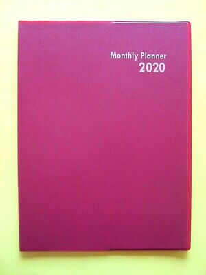 2020 1 One Year Red Monthly Planner Large Calendar Appointment Agenda Organizer