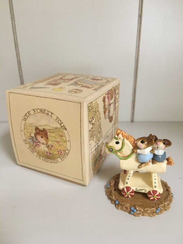 """""""Mousey Express"""" Wee Forest Folk by Annette Peterson Signed with Sticker 1988"""