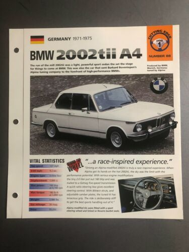"1971 - 1975 BMW 2002 tii A4 Sedan IMP ""Hot Cars"" Spec Sheet Folder Brochure L@@K"
