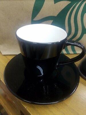 NEW Starbucks high gloss black Demi/espresso Cup  and saucer, HTF