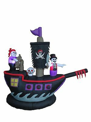 Blow Up Halloween Pirate Ship (Halloween Inflatable Pirate Ship Skeleton Crews Air Blown Blowup Yard)