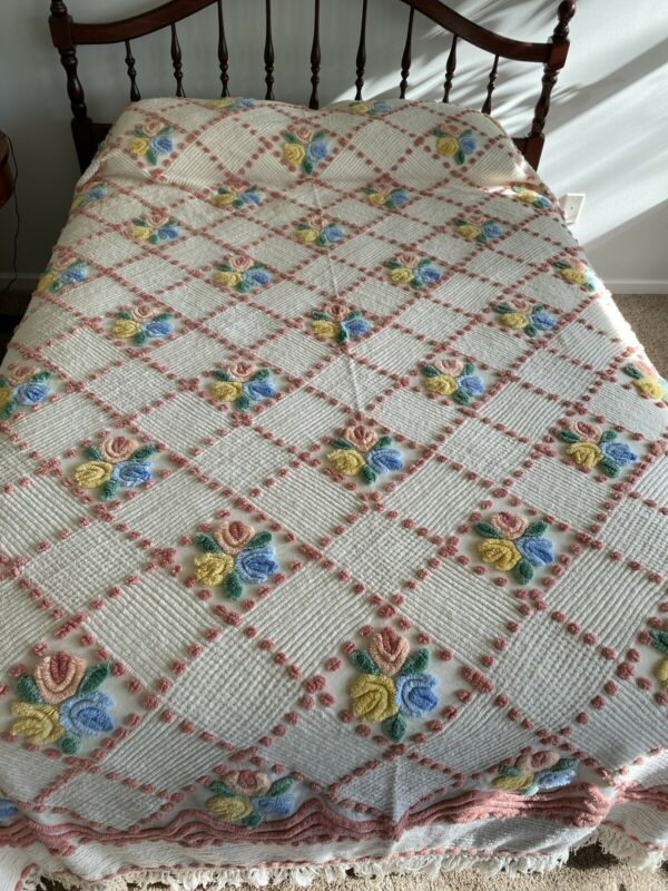 "Vintage Colorful Floral Chenille Bedspread. 98""X 102"" Pink Blue Yellow Green"