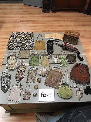 28 Antique Victorian Mesh Beaded Purse Lot