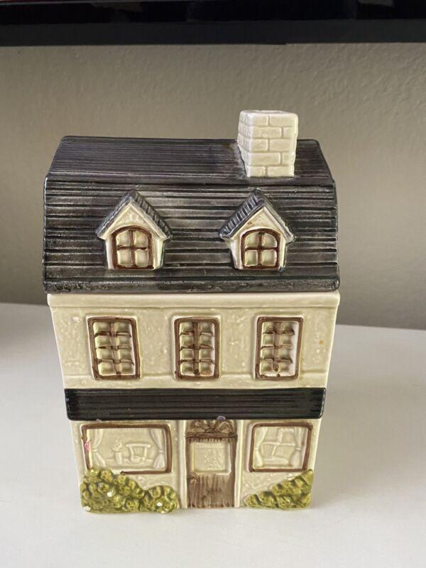 Vintage Handpainted 1980 Otagiri Cookie Jar Shaped Like House