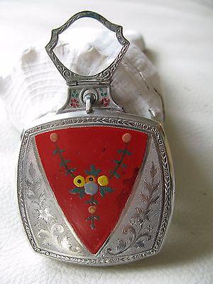 Antique Art Deco Silver T Red Floral Enamel Finger Ring Dance Compact EVANS