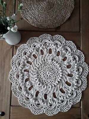 NEW 3D Round chunky tablecloth/mat floor/rug crochet doilies cotton Cream