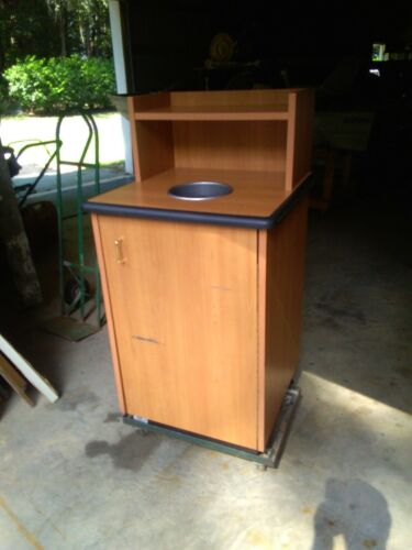 Wooden Waste Receptacle With Tray Top