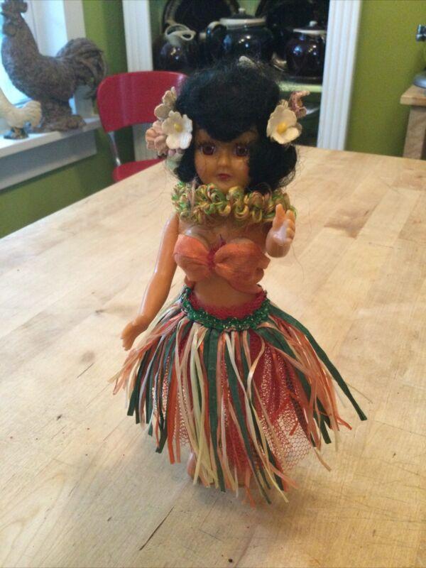 Vintage 1950s Hawaiian Hula Girl Sleepy Blinky Eyes Plastic Bendable Arms