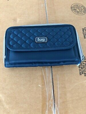 LUG Kickflip Wristlet Wallet Crossbody Clutch Blue light trim nwot NO STRAP Trim Wallet Clutch