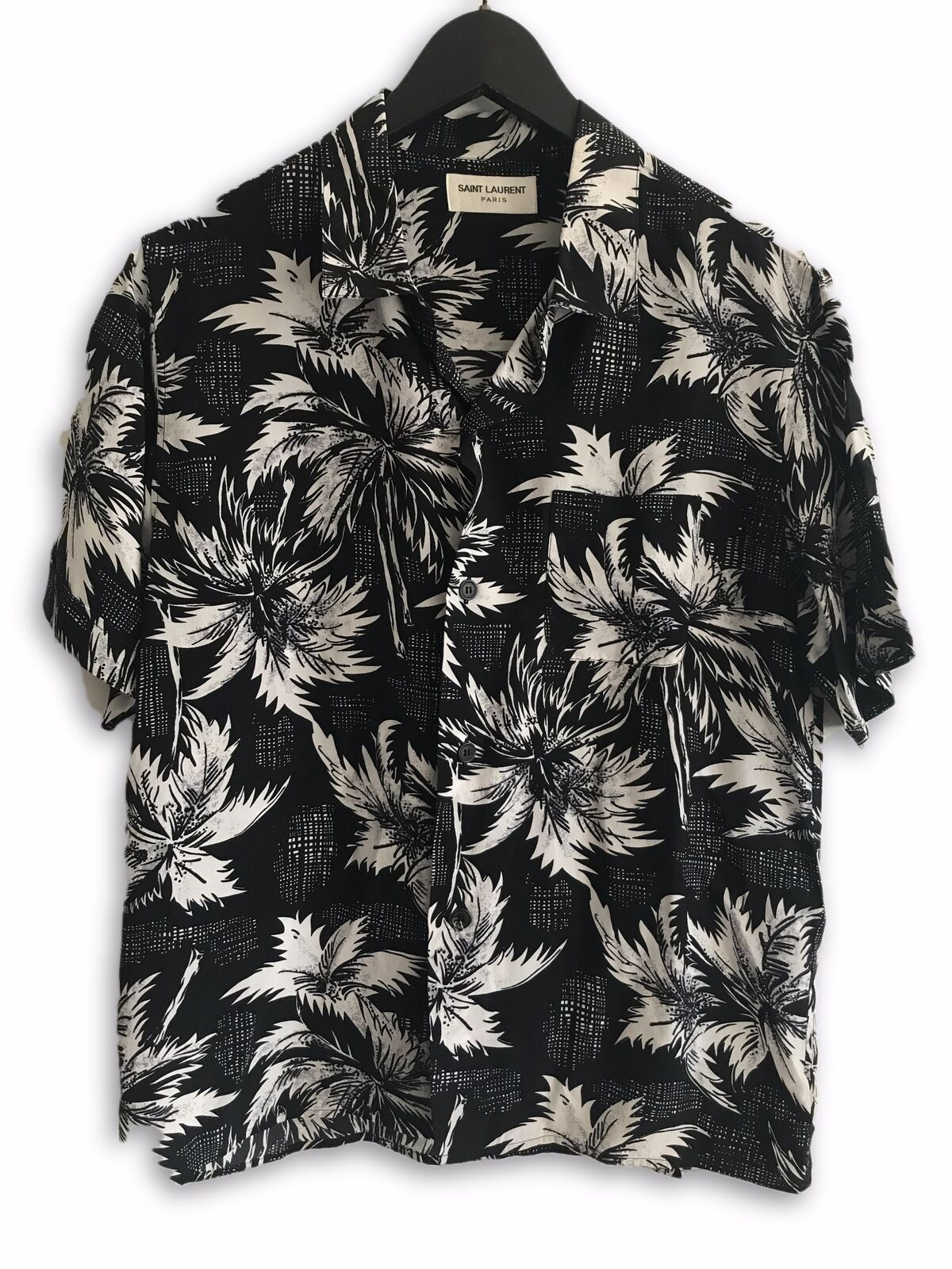 Saint Laurent Paris SS14 Black Hawaiian Shirt Size 37