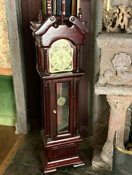 Vintage Mini Dollhouse Museum Artisan Wood Cherry Glass Chime Grandfather Clock