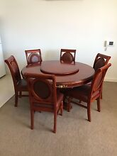 A STUNNING ANTIQUE Dining Set 1 big round table with 6 chairs. Turrella Rockdale Area Preview