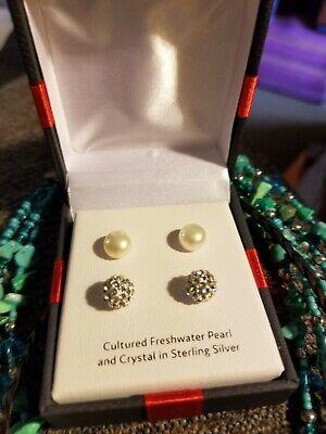 2 Earrings Cultured  Freshwater Pearl & Crystal  In Sterling Silver Crystal Cultured Pearl Earrings
