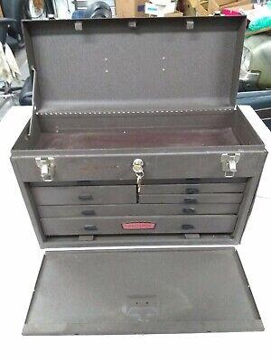 Craftsman Vintage Machinist Tool Box 1950's 7 Drawer Top Storage Excellent W/Key Excel 7 Drawer
