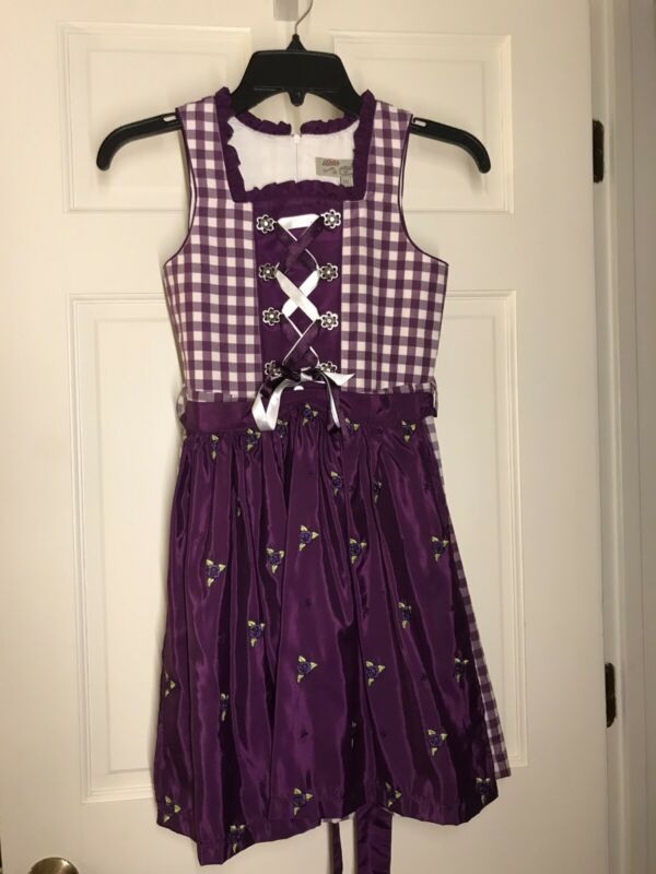 Lekra Country Life Girls German Traditional Dirndl Dress w/Apron, Sz 6 Purple