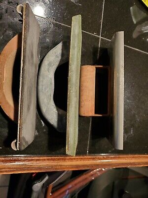 Vintage Lot Of 3 Concrete Drywall Cement Hand Trowel Finishing Tools