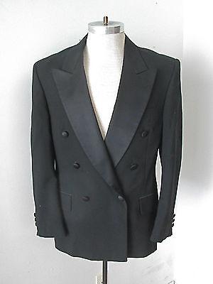 (Bill Blass Eveningwear black wool dbl breasted tuxedo jacket peak lapel 40 R)