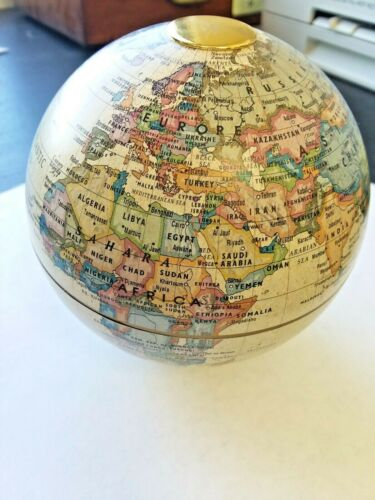 GLOBE MAP- MAGNETS AT POLES - 4 INCH TALL - FOR OFFICE DESK? -VERY COOL