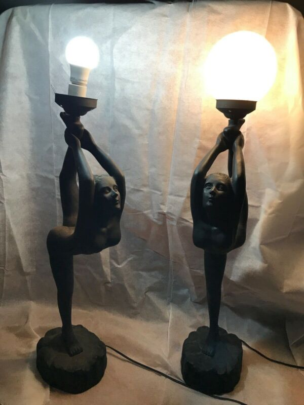 Pair Of Vintage Art Deco Lamps with Globe Nude Woman Ballerina Gymnast