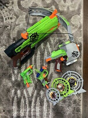 Nerf Elite Crossbow Side Strike Jolt Zombie Strike Guns Targets Lot TESTED
