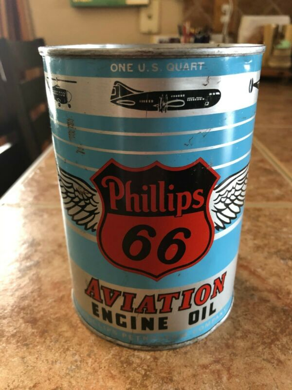 Vintage Phillips 66 Aviation Engine Oil Cans Full. Single can.