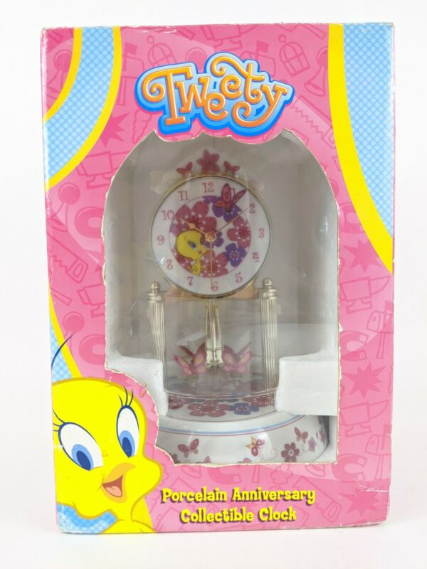 Looney Tunes Tweety Porcelain Anniversary Collectible Clock Glass Dome NEW Open